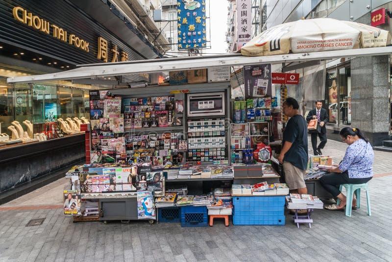Magazine and newspaper stand off Nathan Road, Hong Kong , Kowloon, China. Hong Kong, China - May 13, 2010: Newspaper and Magazine and magazine stand shop with stock photo