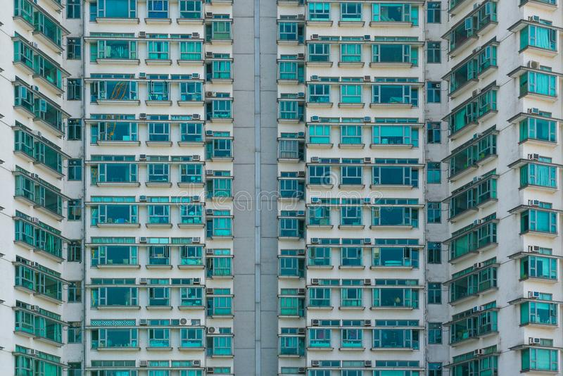 HONG KONG, CHINA - November 03 2017. Part of an apartment building in Hong Kong. Housing, metropolis, overpopulation theme. stock photography
