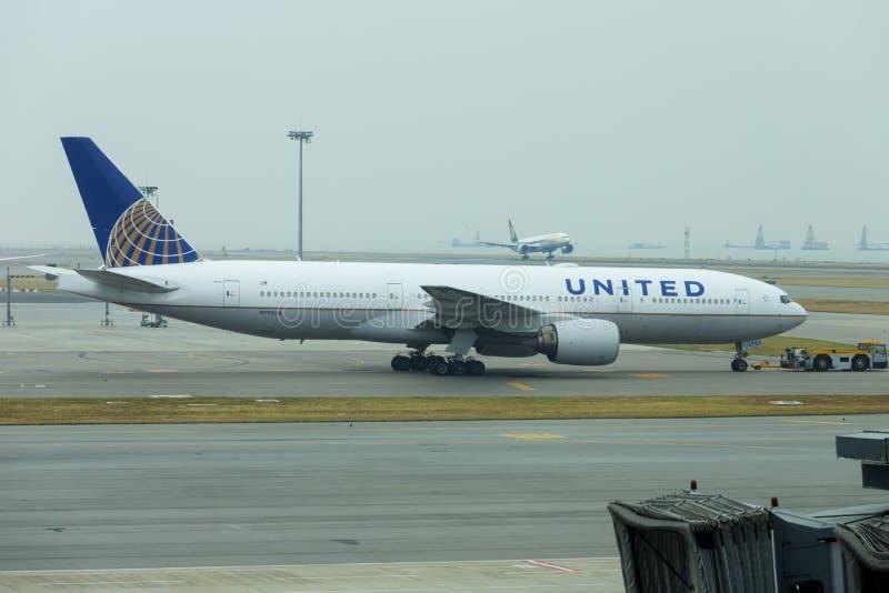 HONG KONG, CHINA - NOVEMBER 25 2018: United airlines plane in Hong Kong International Airport.  royalty free stock photography