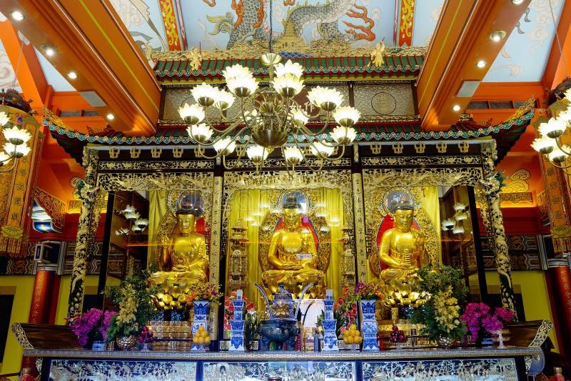 Hong Kong, China, o interior do monastério do Po Lin na ilha de Lantau foto de stock
