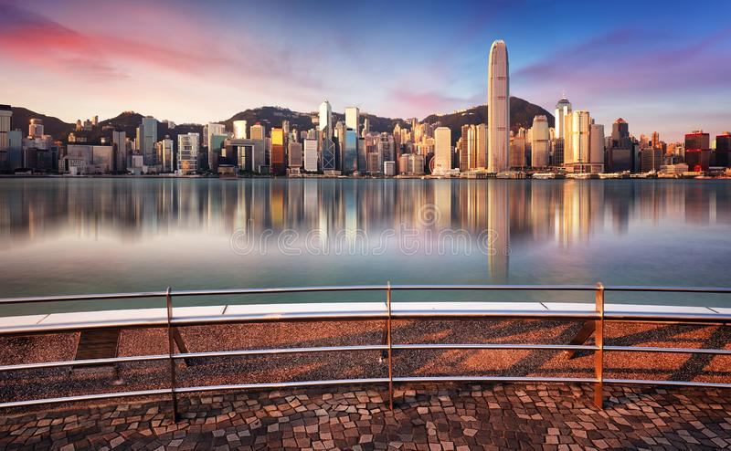 Hong Kong, China skyline across Victoria Harbor stock image
