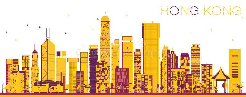 Hong Kong China Skyline astratto con le costruzioni di colore royalty illustrazione gratis