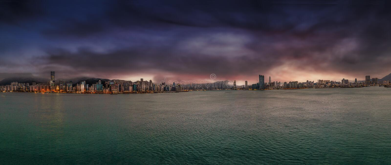 Hong Kong, China skyline panorama from across Victoria Harbor royalty free stock photo