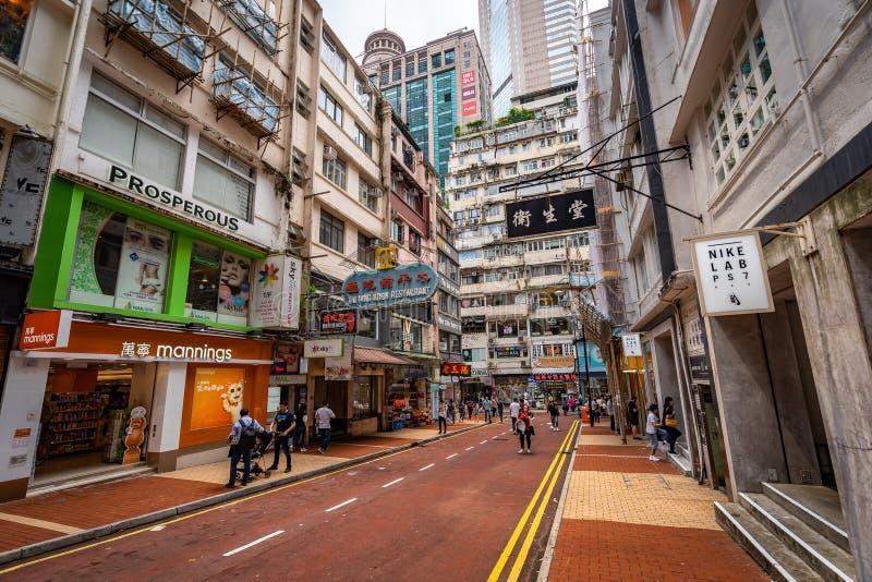 Hong Kong, China - Stadsstraten stock fotografie