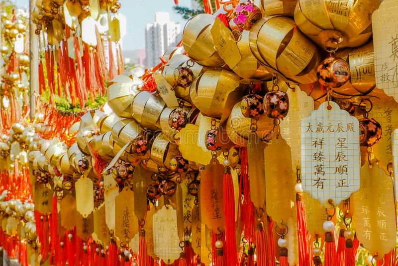 Hong Kong, Chine-DEC 8,2016 : Le maket chinois calent vendant des souvenirs et des marchandises décoratives de chinois traditionn photo stock