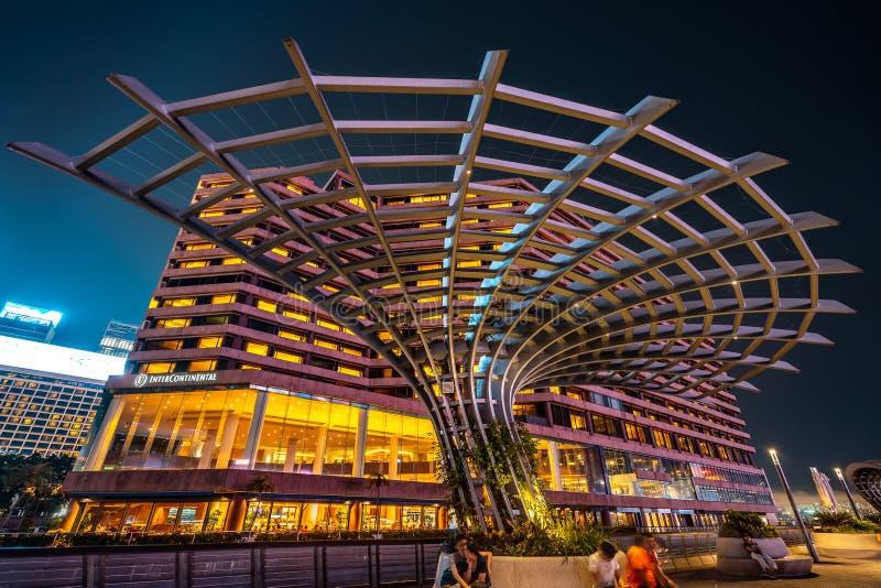 Hong Kong, Chine - met hors jeu le long de l'avenue des étoiles images stock