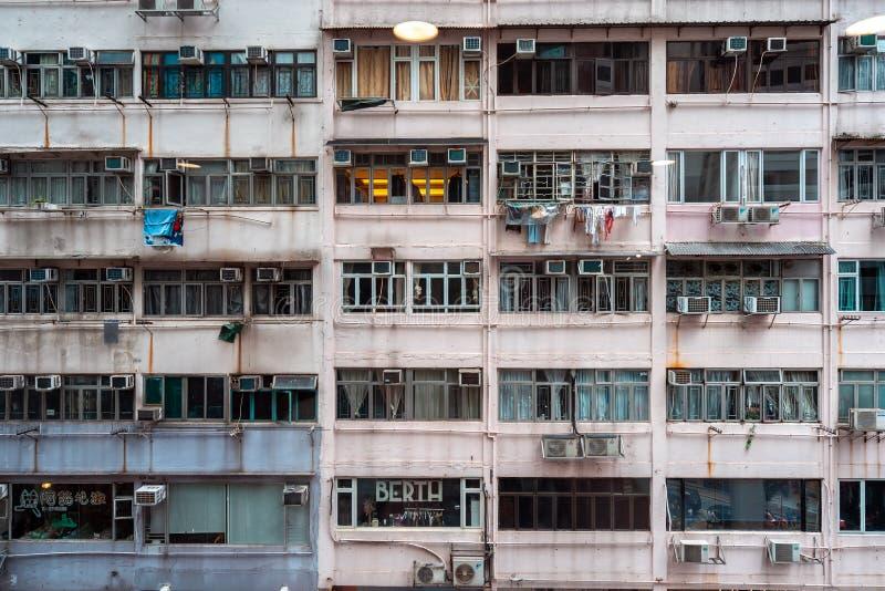 Hong Kong, Chiny - budynek mieszkalny fasada fotografia stock