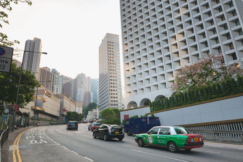 HONG KONG CHINY, Kwiecie?, - 19, 2018 plama abstrakcjonistyczni samochody barwi? skutka obrazka ulicy wersj? zdjęcia stock