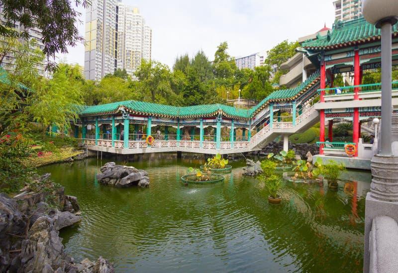 Hong Kong, Chiny, ogród dobrzy życzenia w świątynnym kompleksie Wong tai grzech obraz royalty free