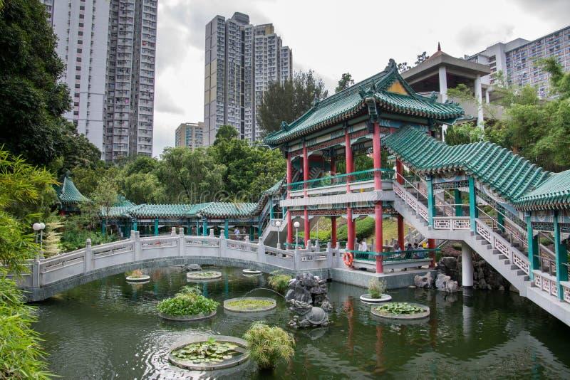 Hong Kong, Chiny, ogr?d dobrzy ?yczenia w ?wi?tynnym kompleksie Wong tai grzech obraz royalty free