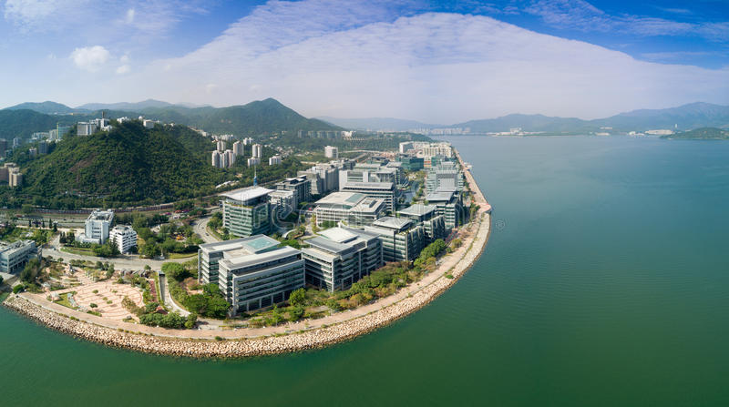 Hong Kong, Cina, il 7 gennaio 2017 Vista aerea sopra il parco scientifico Governo per promuovere il personale di ricerca scientif immagini stock