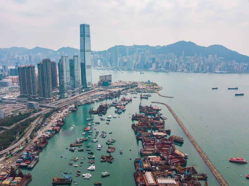 Hong Kong City à la vue aérienne dans le ciel image libre de droits