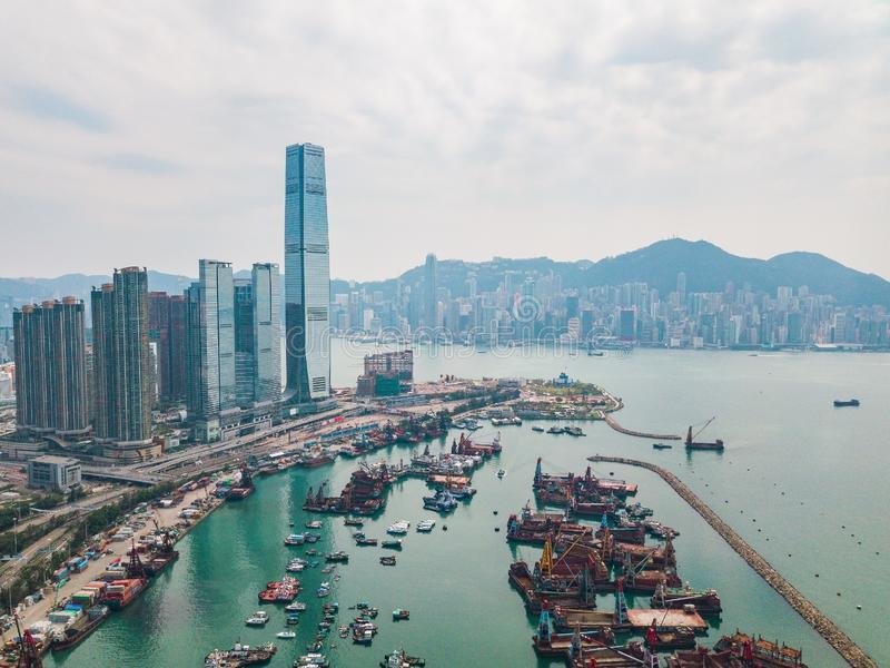 Hong Kong City à la vue aérienne dans le ciel images libres de droits