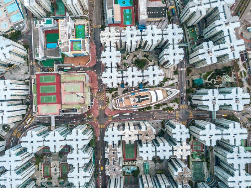 Hong Kong City à la vue aérienne dans le ciel photo libre de droits