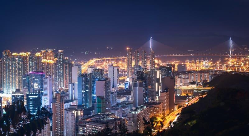 Hong Kong City al crepuscolo immagini stock libere da diritti