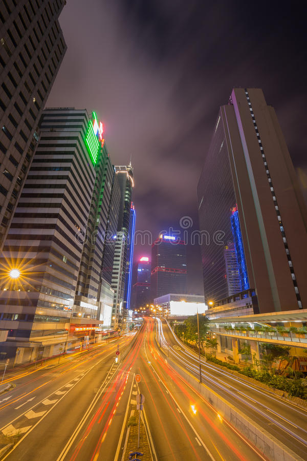 Hong Kong city (central) and traffic of street at night. Time royalty free stock photo