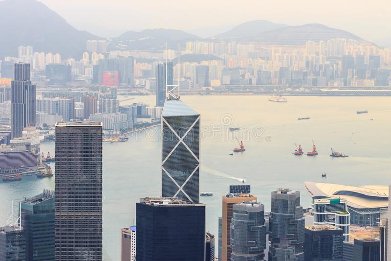 Hong Kong city and harbor view. From Victoria Peak stock images