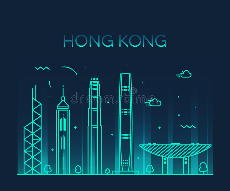 Hong Kong City-horizon detailleerde silhouetvector stock illustratie