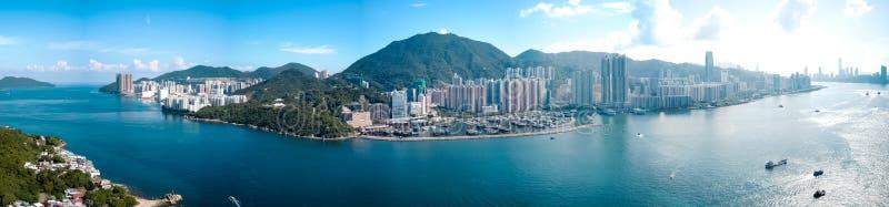 Hong Kong City i flyg- sikt royaltyfri fotografi
