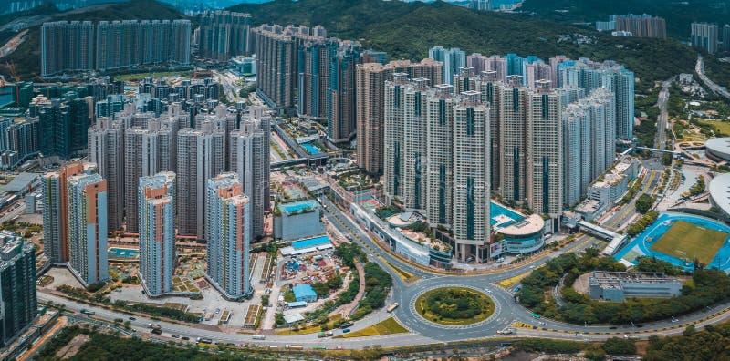 Hong Kong City i flyg- sikt royaltyfri foto