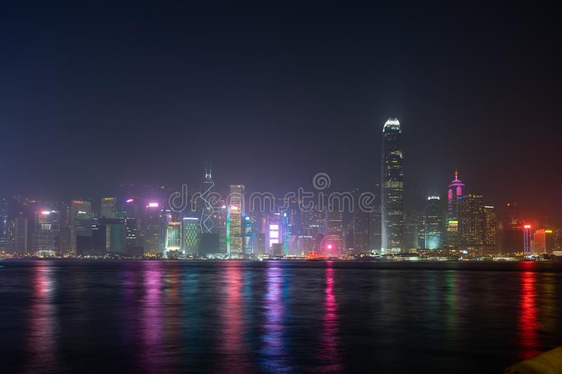 Hong Kong city laser show Symphony Of Lights Panorama Landmark skyscraper buildings at Victoria harbor in Hong Kong City royalty free stock images
