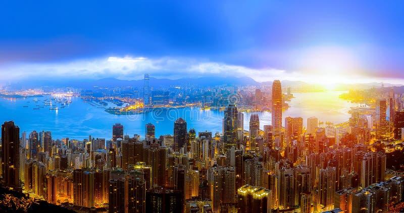 Hong Kong City in luchtmening stock fotografie