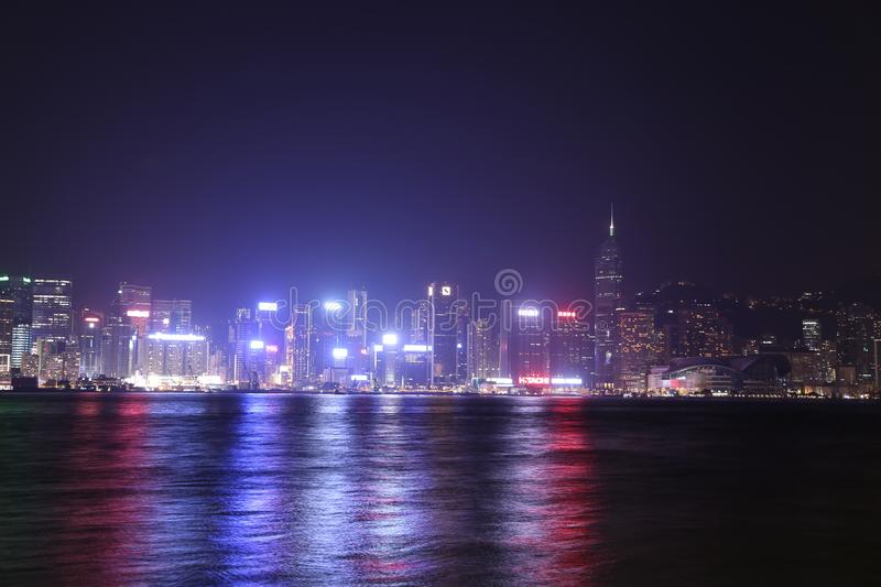Hong Kong city at night stock photos