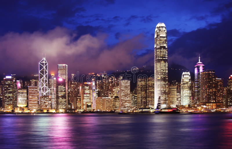 Hong Kong city skyline. View of Hong Kong from across Victoria Harbour royalty free stock images
