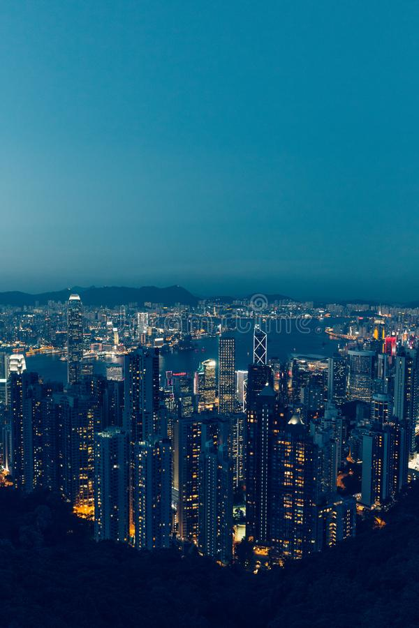 Hong Kong skyline at evening dusk sunset royalty free stock photos