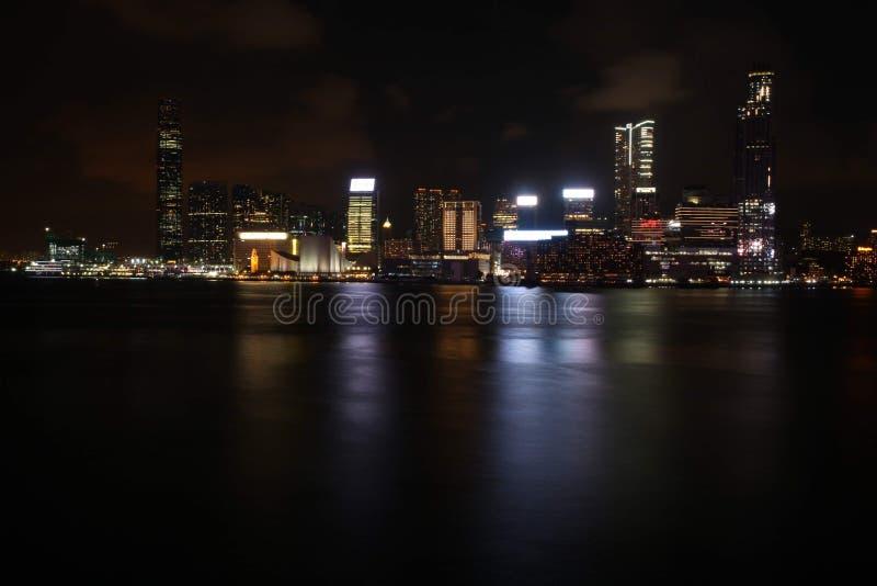 Hong Kong city Skyline at night stock photos