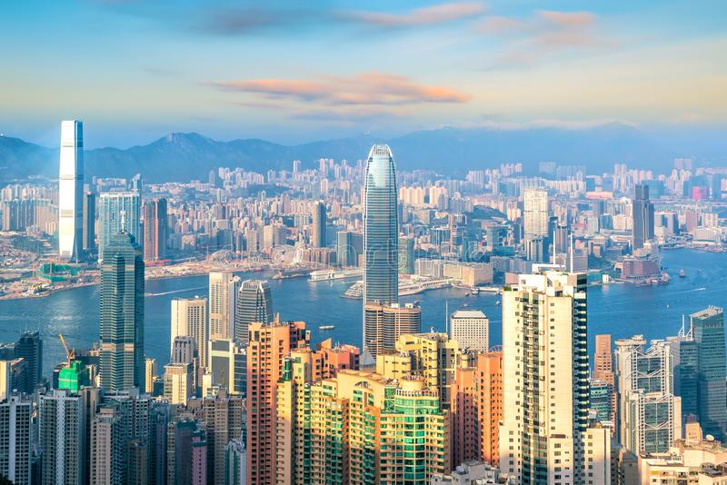Hong Kong city skyline with Victoria Harbor view. From top view stock image