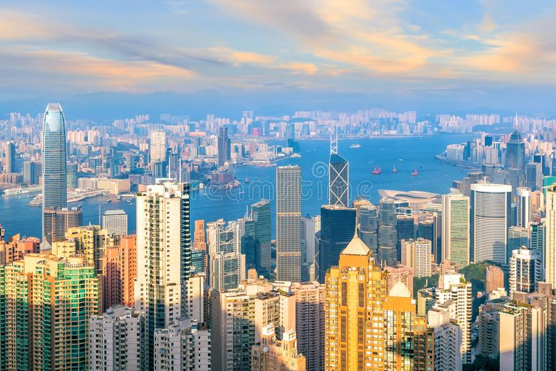 Hong Kong city skyline with Victoria Harbor view. From top view royalty free stock photos