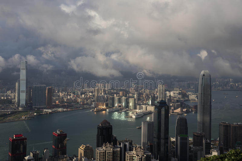 Hong Kong city skyline with Victoria Harbor. Hong Kong City skyline wiht Victoria Harbor and Kowloon royalty free stock image