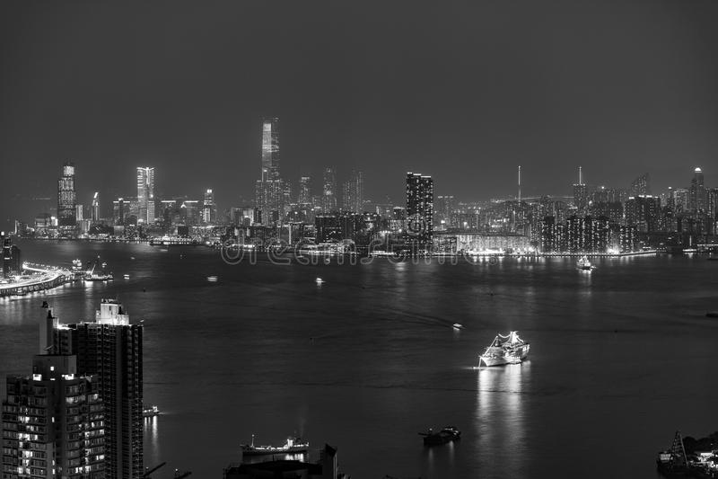 Hong Kong City and Skyscape. At night stock photos