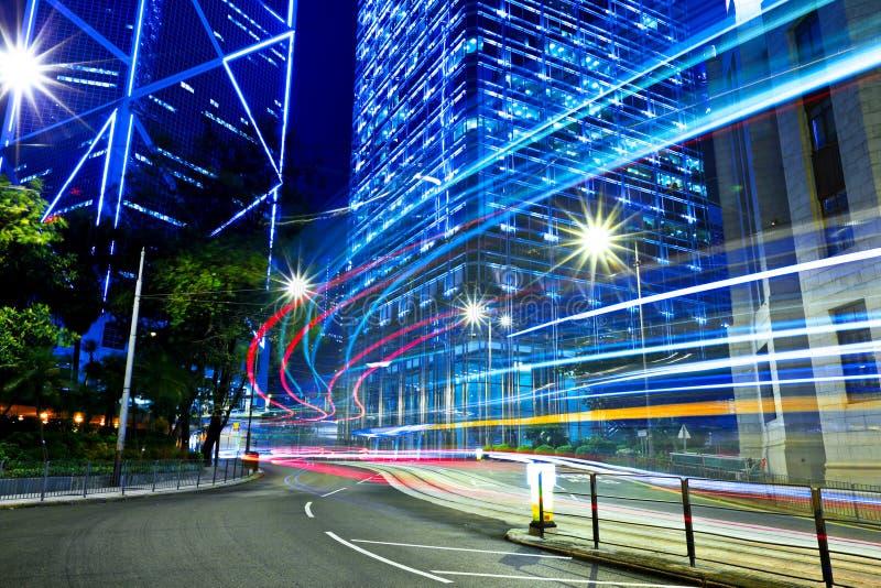 Hong Kong city with traffic trail royalty free stock photo