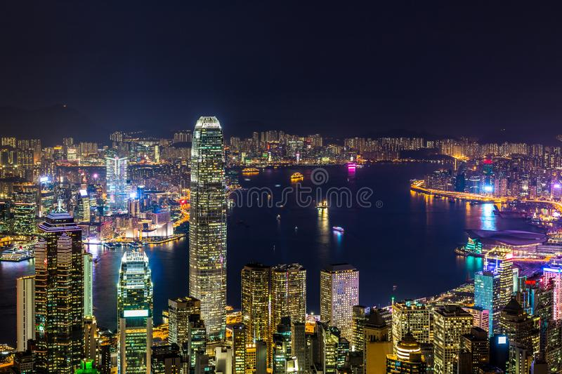 Hong Kong city view from The Peak at night, Victoria Harbor view from Victoria Peak at night, Hong Kong stock photos