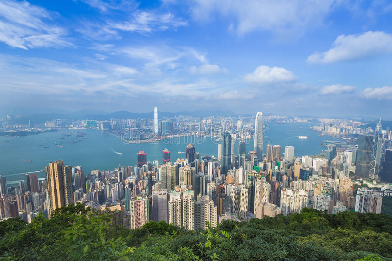 Hong Kong city, view from The Peak. Skyline of Hong Kong city, view from The Peak royalty free stock photography