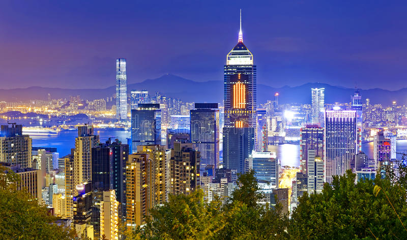 Hong Kong cityscape harbor view. At night stock images