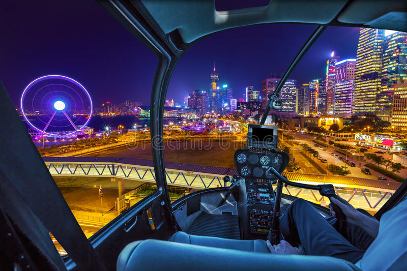 Hong Kong Cityscape Helicopter royalty-vrije stock afbeelding
