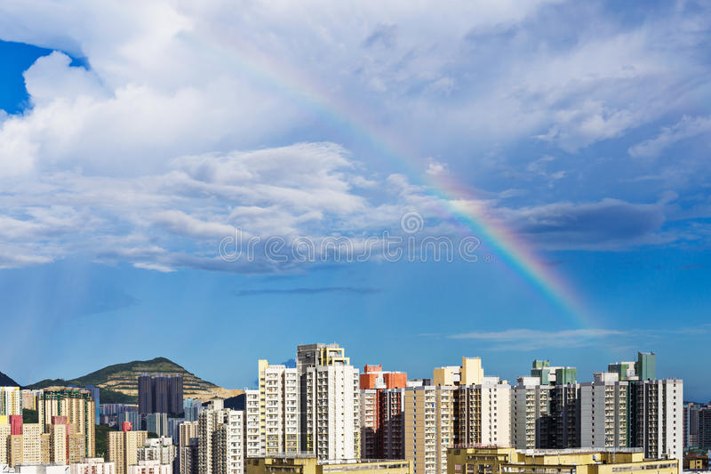 Hong Kong cityscape with rainbow stock photo
