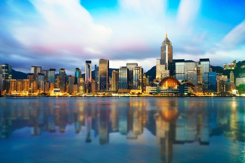 Hong Kong cityscape, soluppgångskymningplats arkivfoto