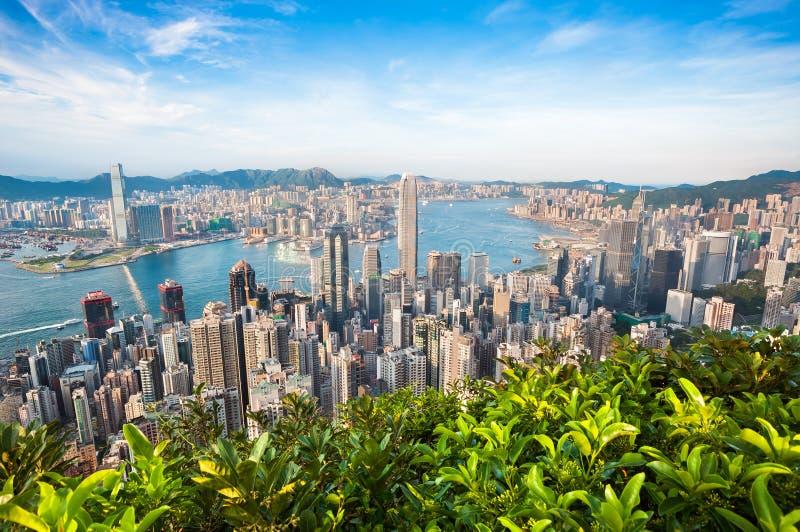 Hong Kong cityscape som ses från den Lugard vägen på Victoria Peak arkivbilder