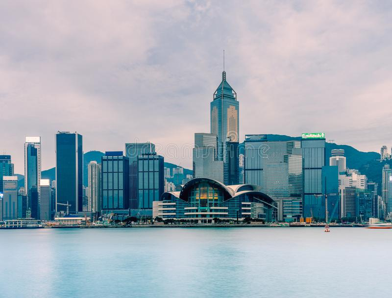 Hong Kong cityscape : View from Victoria harbor. The famous place in Hong Kong stock photos