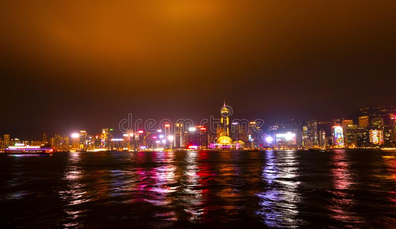 Hong Kong cityscape view from the Victoria harbor at night.  stock photo