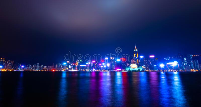 Hong Kong cityscape view from the Victoria harbor at night.  royalty free stock photo