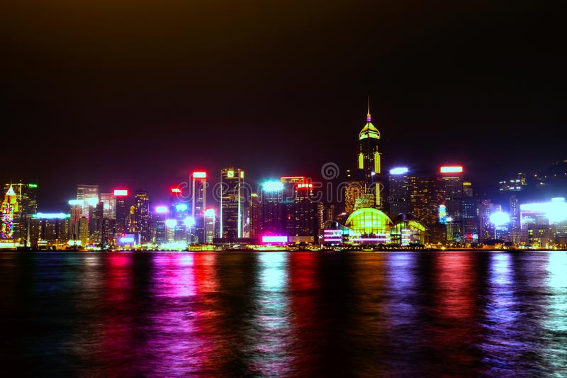 Hong Kong cityscape view from the Victoria harbor at night. In Hong Kong royalty free stock photography