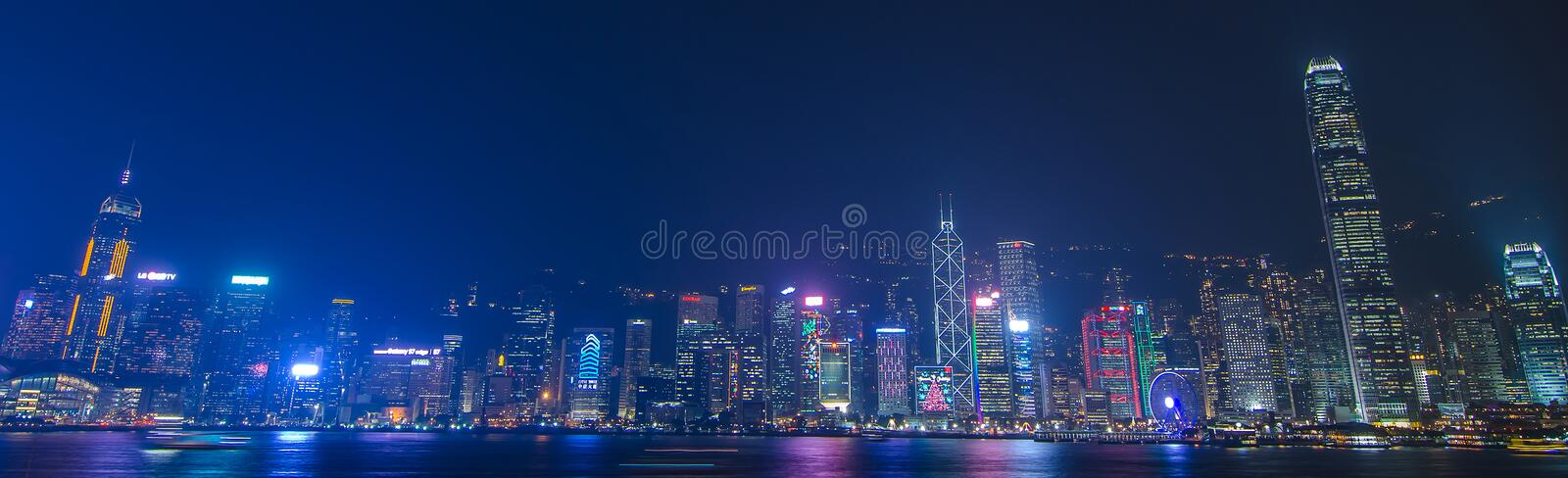 Hong Kong cityscape waterfront over Victoria harbor,. HONG KONG, CHINA - DEC 8, 2016: Hong Kong cityscape waterfront over Victoria harbor, to night on December 8 stock images