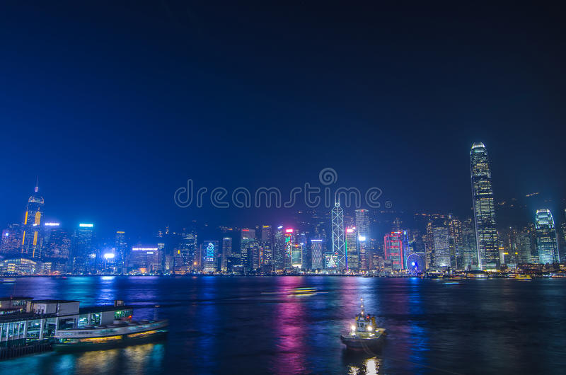 Hong Kong cityscape waterfront over Victoria harbor,. HONG KONG, CHINA - DEC 8, 2016: Hong Kong cityscape waterfront over Victoria harbor, to night on December 8 stock photo