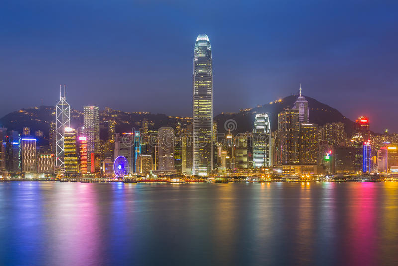 Hong Kong cityscape waterfront over Victoria harbor. Twilight royalty free stock photos