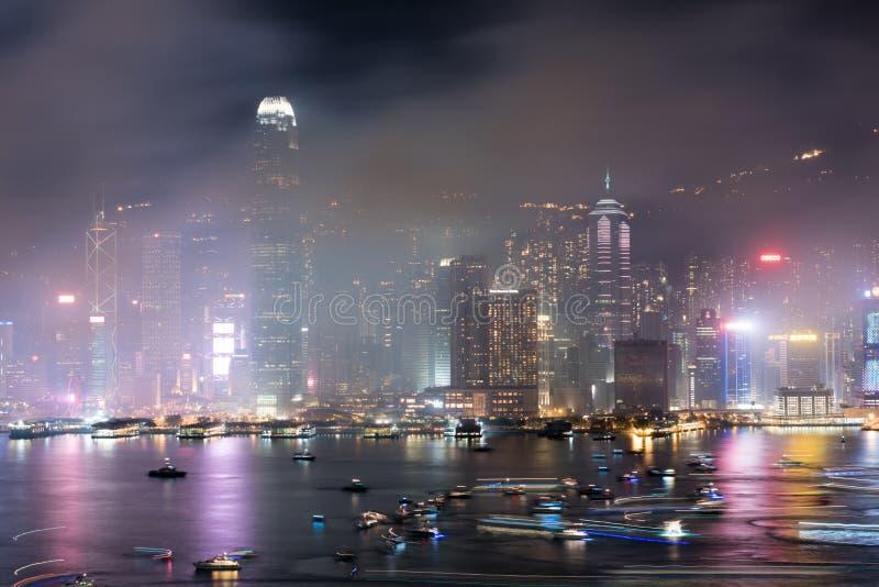 Hong Kong Colorful Firework bei Victoria Harbour stockbild